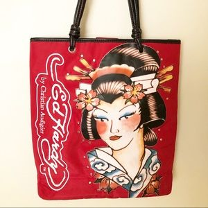 Ed Hardy by Christian Audigier Red Nylon Tote Bag